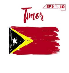 Timor flag brush strokes painted vector