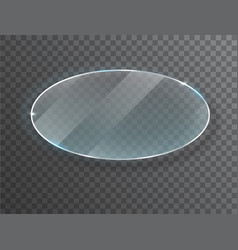 transparent round circle glass plate mock up vector image