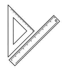 triangle ruler measuring school thin line vector image