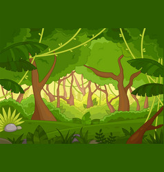 tropical forest background with lush green trees vector image