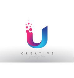 U letter design with creative dots bubble circles vector