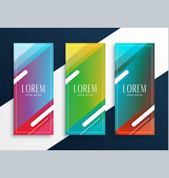 Vibrant set of vertical banners set in geometric vector