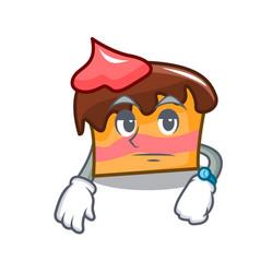 Waiting sponge cake mascot cartoon vector