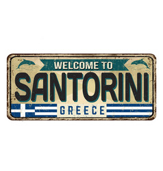welcome to santorini vintage rusty metal sign vector image