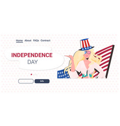 woman in festive hat with usa flag celebrating 4th vector image