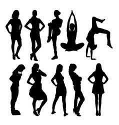 Women activity silhouettes vector