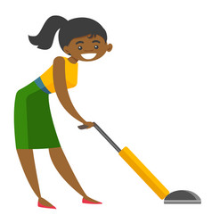 young african woman cleaning with vacuum cleaner vector image vector image