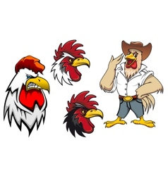 Cartoon roosters or cocks vector image vector image