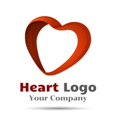 Colorful 3d Volume Logo Design heart symbol icon vector image vector image