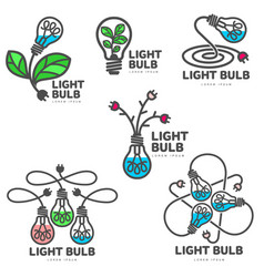 set of colorful light bulb logo templates growth vector image vector image