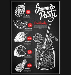 summer cocktails menu cover layout menu vector image