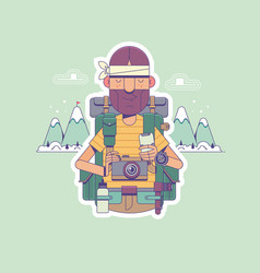 travel hiking backpacking tourism and people vector image