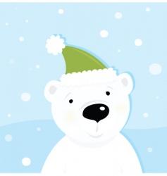 white polar bear on snow vector image vector image