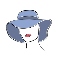 Beautiful elegant lady in the blue wide-brimmed vector image vector image