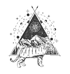 creative geometric tiger tattoo art style vector image