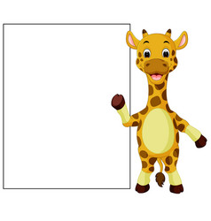 cute giraffe with blank sign vector image