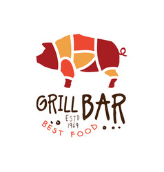 grill bar best food estd 1969 logo template hand vector image vector image