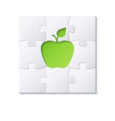 Puzzles and green apple concept vector image vector image