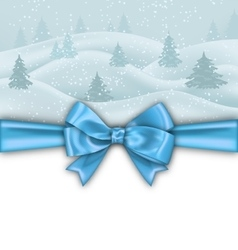 Winter Background with Blue Bow Ribbon vector image vector image