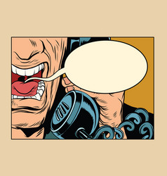 angry man talking on the phone comic cloud vector image