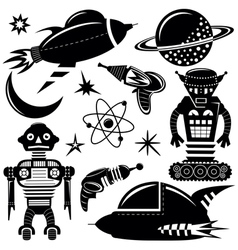 Black wall stickers space invaders set vector image