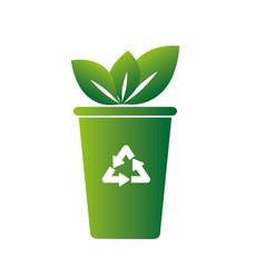 Recycle bin ecology symbol icon vector