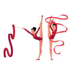 rhythmic gymnasts in leotards vertical leg split vector image