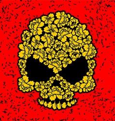 Skull with roses Flower skull in grunge style vector image