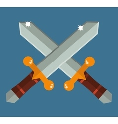 Two crossed Asia swords with gold handles vector image