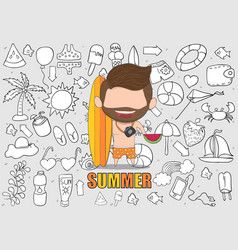 a happy face man with beard summer symbols and vector image vector image