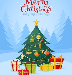 Christmas tree with gifts celebration postcard vector image