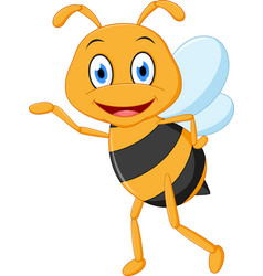 little bee cartoon presenting vector image