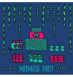 mermaid party elements underwater kids party vector image vector image