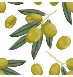 seamless olive pattern tile green olive vegetable vector image vector image