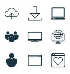 set of 9 world wide web icons includes followed vector image vector image