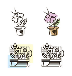 Web line icon flower in a pot line art icon vector