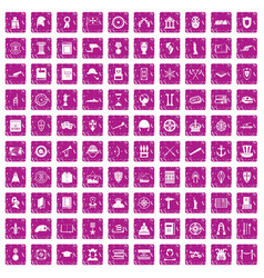 100 history icons set grunge pink vector