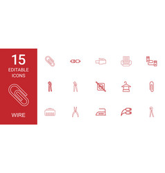 15 wire icons vector image