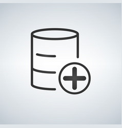 add to database linear black icon isolated on vector image