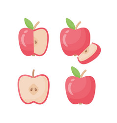 apple flat icon set vector image