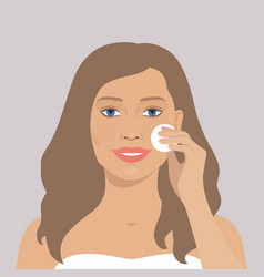 Beautiful woman cleaning her face vector