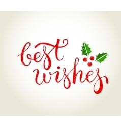 Best Wishes text with holly leaves - Christmas vector