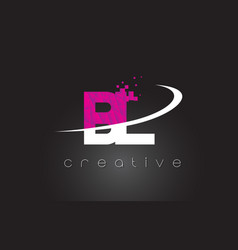 Bl b l creative letters design with white pink vector