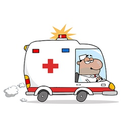 Black Doctor Driving Ambulance vector image