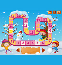 boardgame template with kids playing in snow vector image