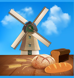 Bread and wheat background vector