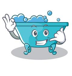 Call me bathtub character cartoon style vector