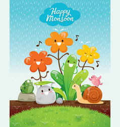 Cartoon character of flowers and animals vector