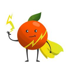 Cartoon superhero orange fruit in cape with hands vector