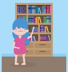childrens day little girl student with bookshelf vector image